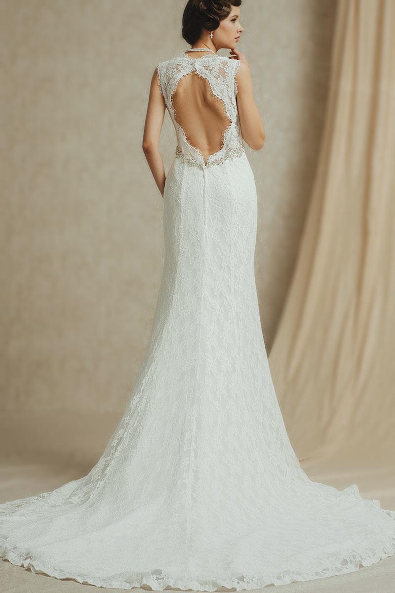 robe mariée sirène en dentelle dos découpé