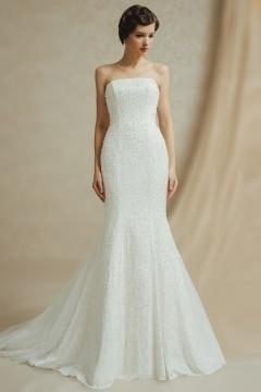 Robe de mariée sirène bi-matière parsemée de perles avec ceinture amovible