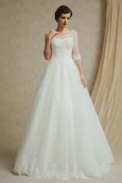 Robe de mariée princesse à manche longue ½ transparente