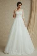 Vintages A-Linie Ivory Bodenlanges Brautkleider mit halb Ärmel
