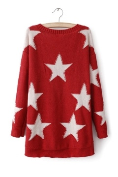 Five-pointed Star Sweater In Red