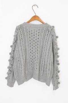 Cute Hair Ball Twist Knit Sweater