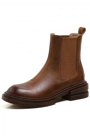 Chelsea boots bout arrondi cuir marron dégradé