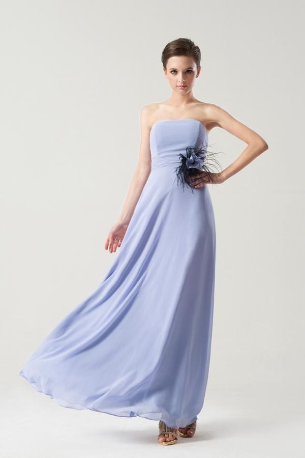 Simple robe longue bustier droit pour mariage d'été
