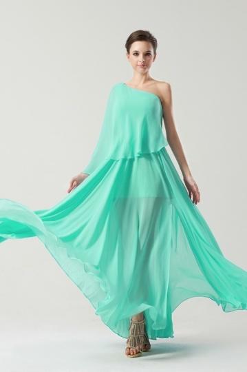 Robe verte sorée 2014 longue à volants féerique