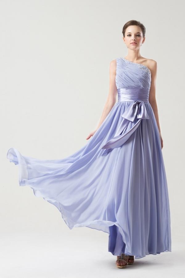 robe demoiselle d'honneur lavande longue asymétrique embelli de strass avec ceinture noeud papillon
