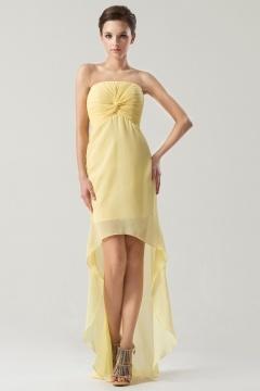 Robe à bascule bustier ruchée en mousseline jaune