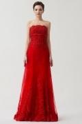 Robe rouge dentelle fleurs appliquées boléro détachable