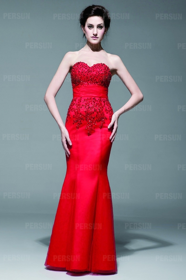 Robe bustier rouge stras style sirène longue sol