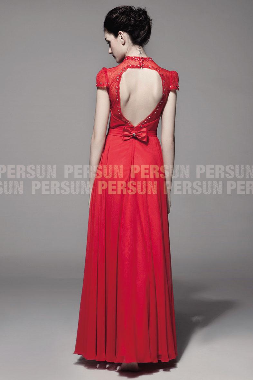chic robe rouge soirée dos découpé pour mariage