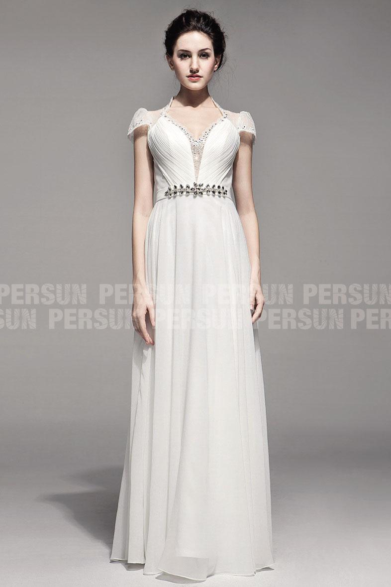 robe de cérémonie blanche longue à haut perlé