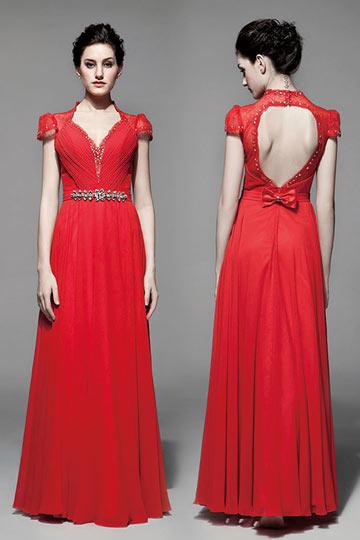 Robe de soirée mariage en rouge à dos nu