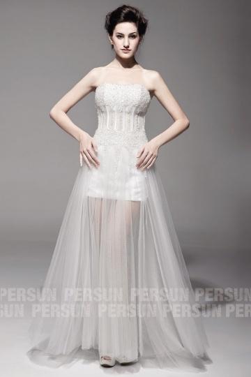 Robe de mariée plage semi transparente en tulle ivoire