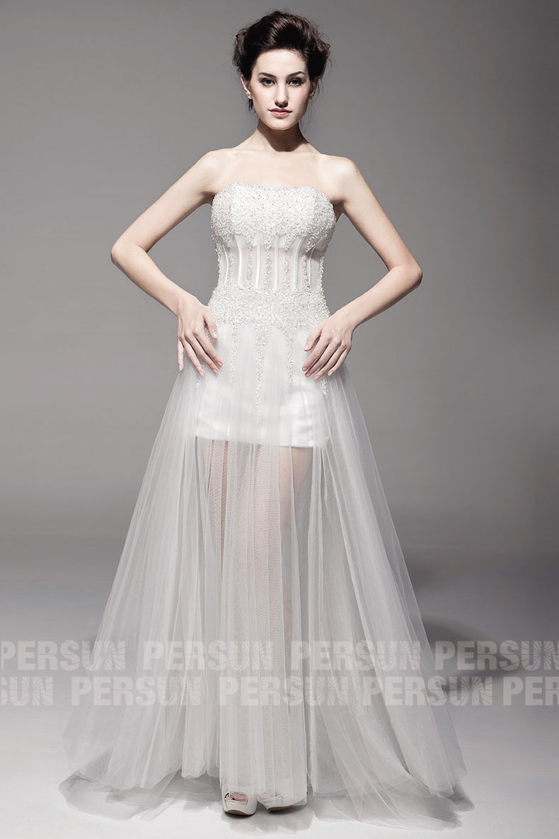 robe mariée à corset semi transparente en tulle ivoire