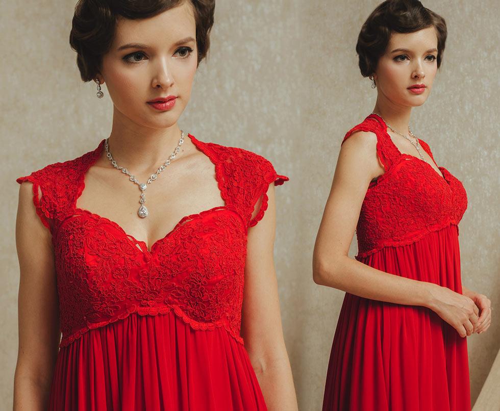 chic robe rouge empire splendide bustier cœur en dentelle pour la grossesse