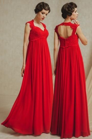 robe de soirée rouge empire dos découpé