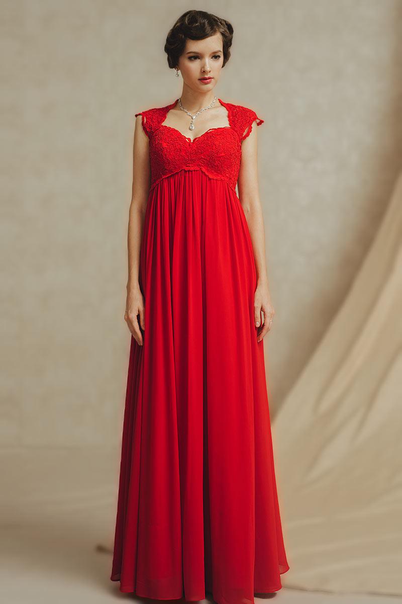 Splendide et délicate Robe rouge pour la femme grossesse taille Empire