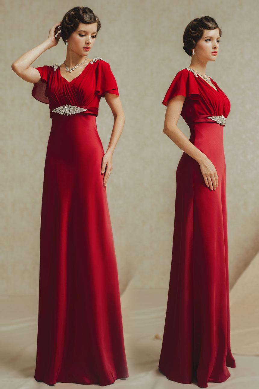 Robe pour soirée empire à manche courte ceinturée avec bijoux