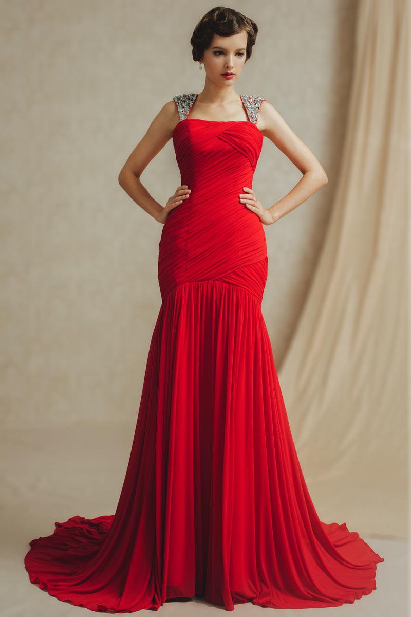 Rouge Robe de soirée sirène avec bretelle en strass