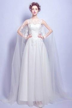 Chic robe de mariée dentelle avec cape 2017