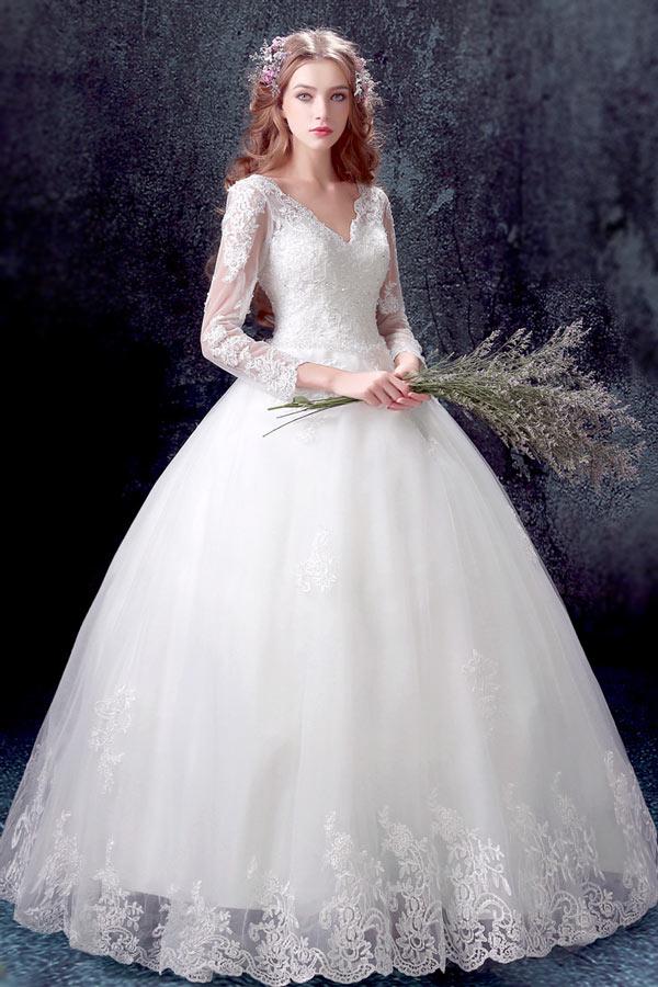 Classique robe de mariée princesse 2017 avec manches longues en dentelle