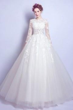Robe mariée 2017 princesse vaporeuse manches longues bustier fleuri