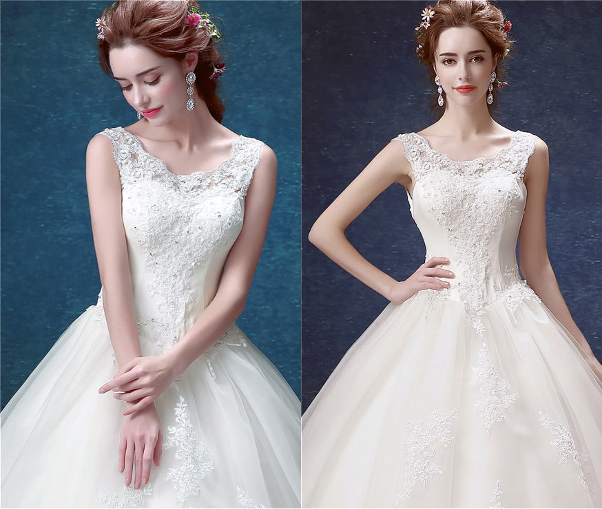 Robe mariage blanche & ivoire en dentelle florale col oval