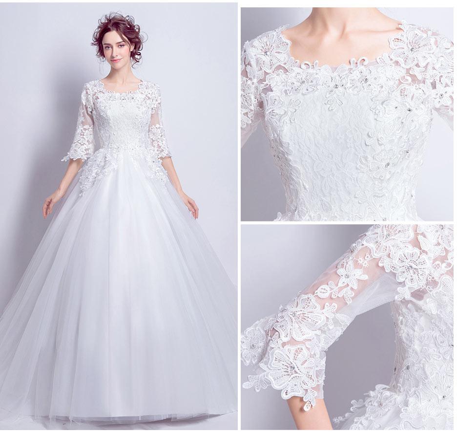 robe de mariée avec manches pour les rondes 2018