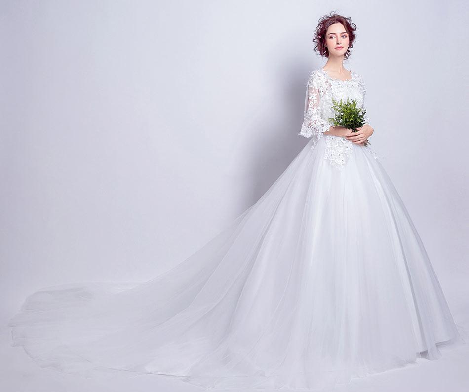 robe de mairée pour l'hiver 2018 avec manches guipure