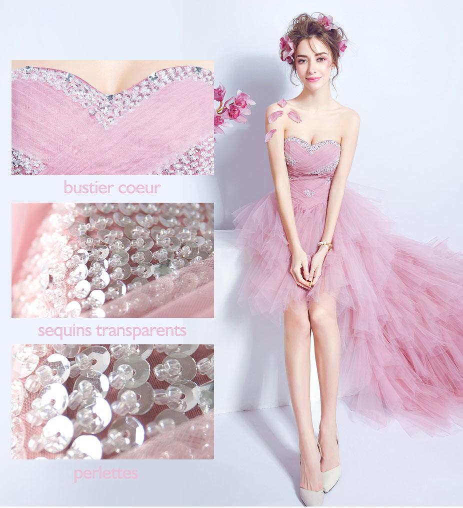 robe de mariée rose courte devant longue derrière orné de paillettes
