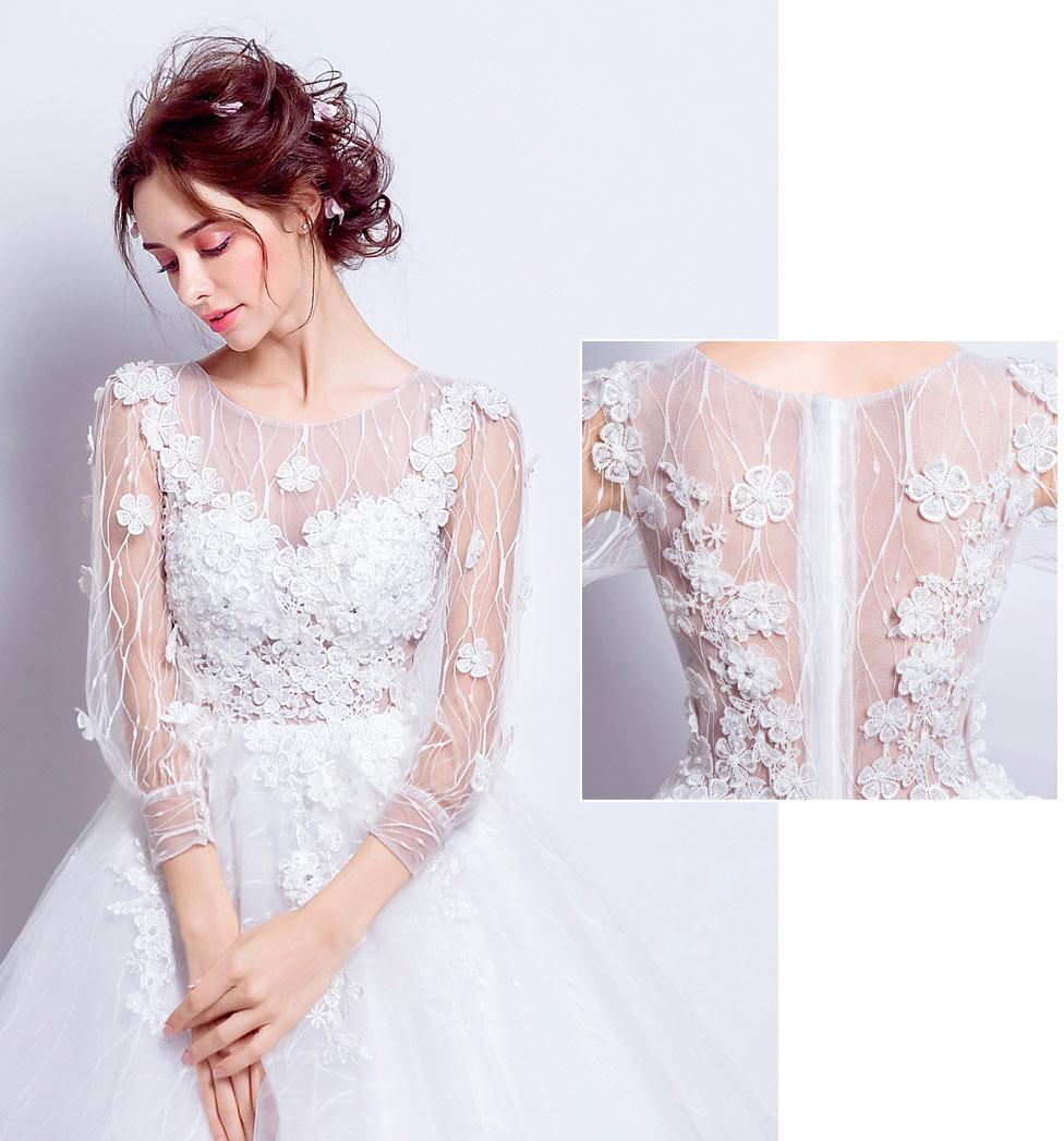 robe de mariée à haut transparent & dentelle originale