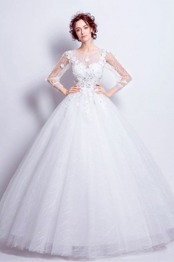 robe de mari e bustier transparent fleuri avec manches. Black Bedroom Furniture Sets. Home Design Ideas