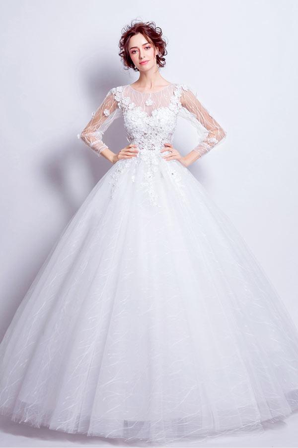 robe de mariée princesse col illusion manche mi-longue appliquée de dentelle florale 3D