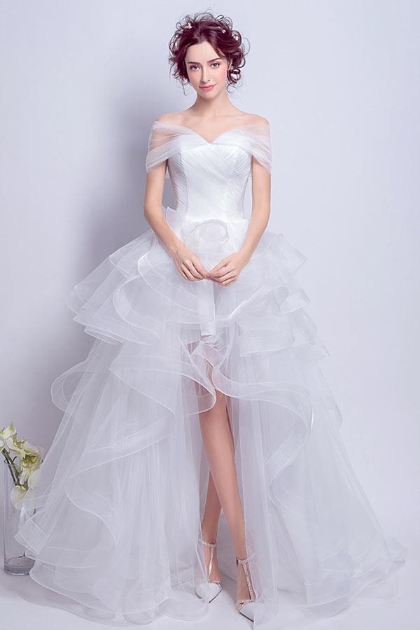 premier taux nouveaux produits chauds le moins cher Bohème robe de mariée courte devant longue derrière épaule ...