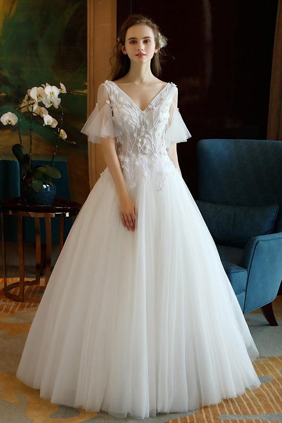 Robe de mariée col V à bustier transparent & brodé