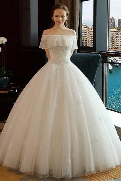 Robe de mariée épaule dégagée & bustier à volants orné de bijoux