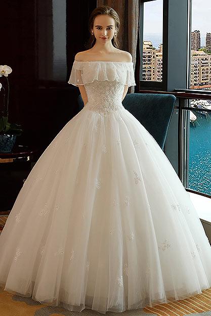 Robe mariee princesse col bateau