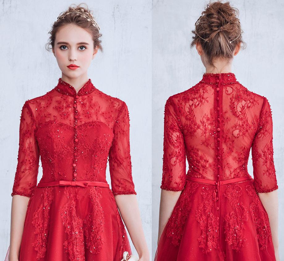 robe de mariée chemisier rouge rétro vintage avec boutons sur le devant