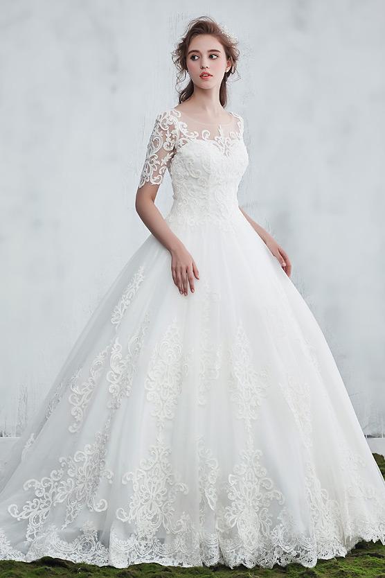 Vintage Robe de mariée princesse 2018 avec manches guipure