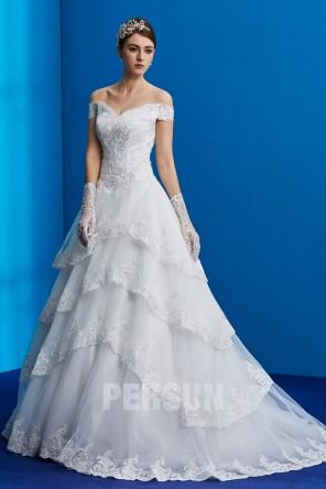 Gouda : Robe de mariée princesse épaule dénudé recouverte de dentelle & sequin