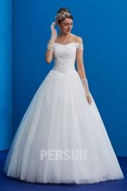 Prinzessin Hochzeitskleid mit entblößter Schulter verziert mit Perlen pailletten aus Tüll