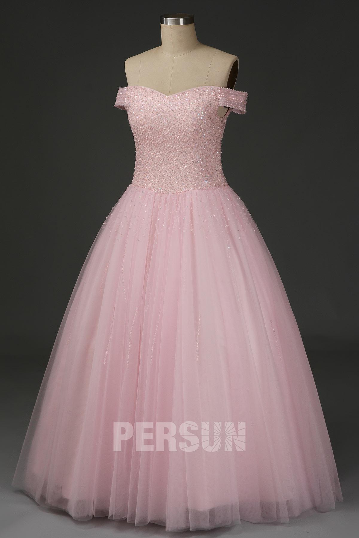robe de soirée princesse rose col bardot embelli de sequins