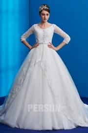 Prinzessin Brautkleider Spitze Ärmel Verzieren mit Strass mit Abnehmbarer Schwanzbildung 2019