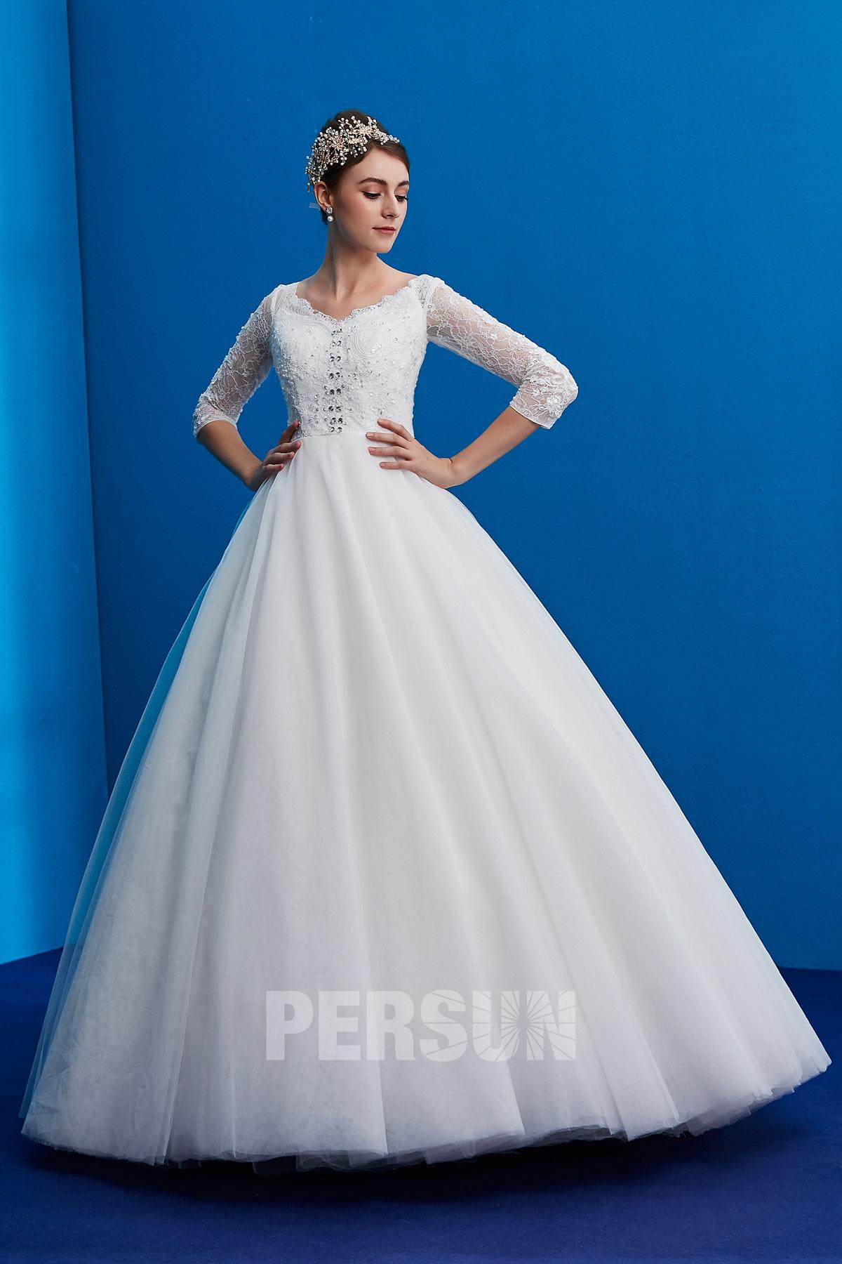 robe de mariée princesse vintage haut dentelle avec manche