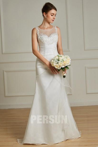 Mélissa : Robe de mariée trompette col illusion appliqué de dentelle & bijoux