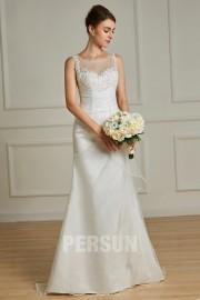 Meerjungfrau Brautkleid Perlen Illusion Hals verziert mit Spitze Applikationen