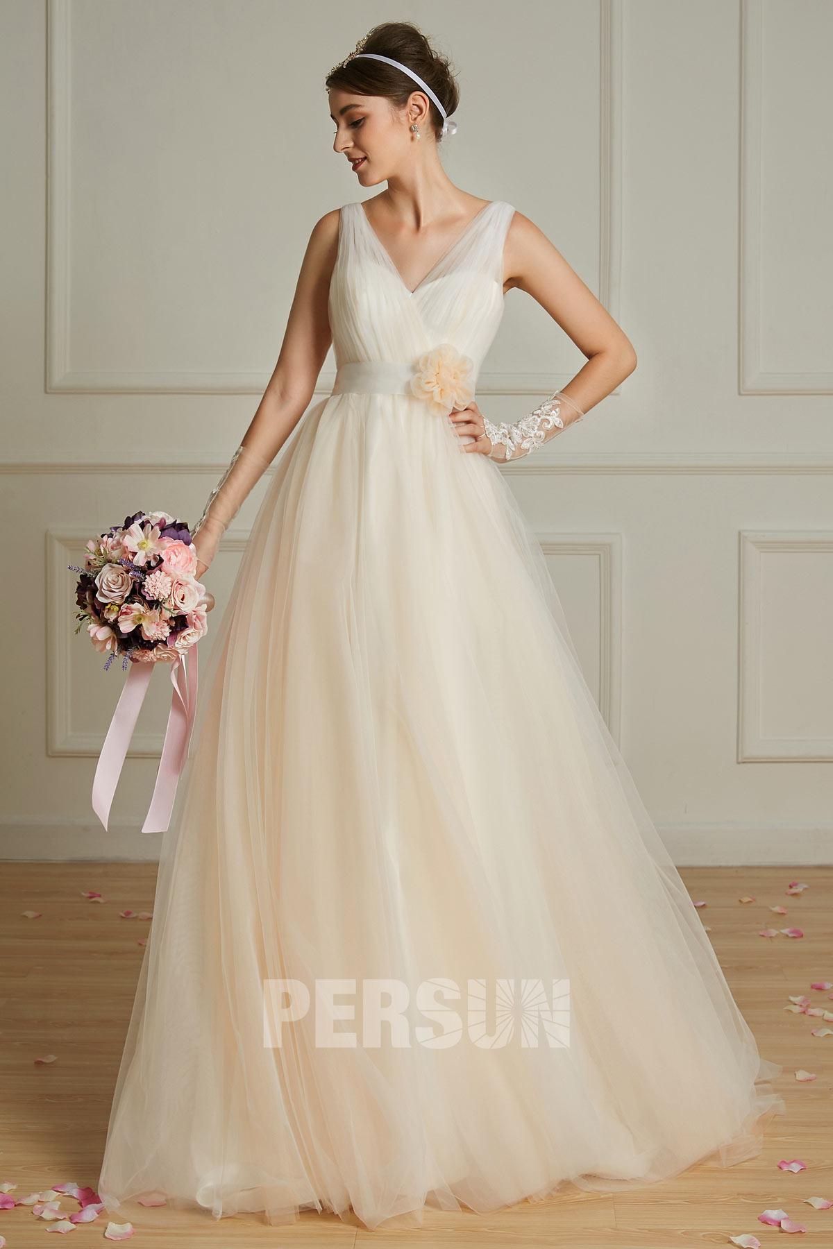 robe de mariée champagne clair 2019 style bohème col cache coeur