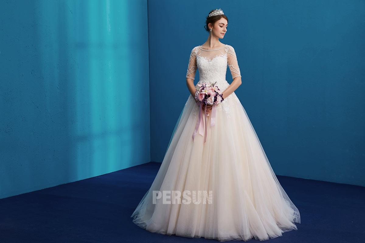 robe de mariée 2019 à manche courte à haut en dentelle et strass