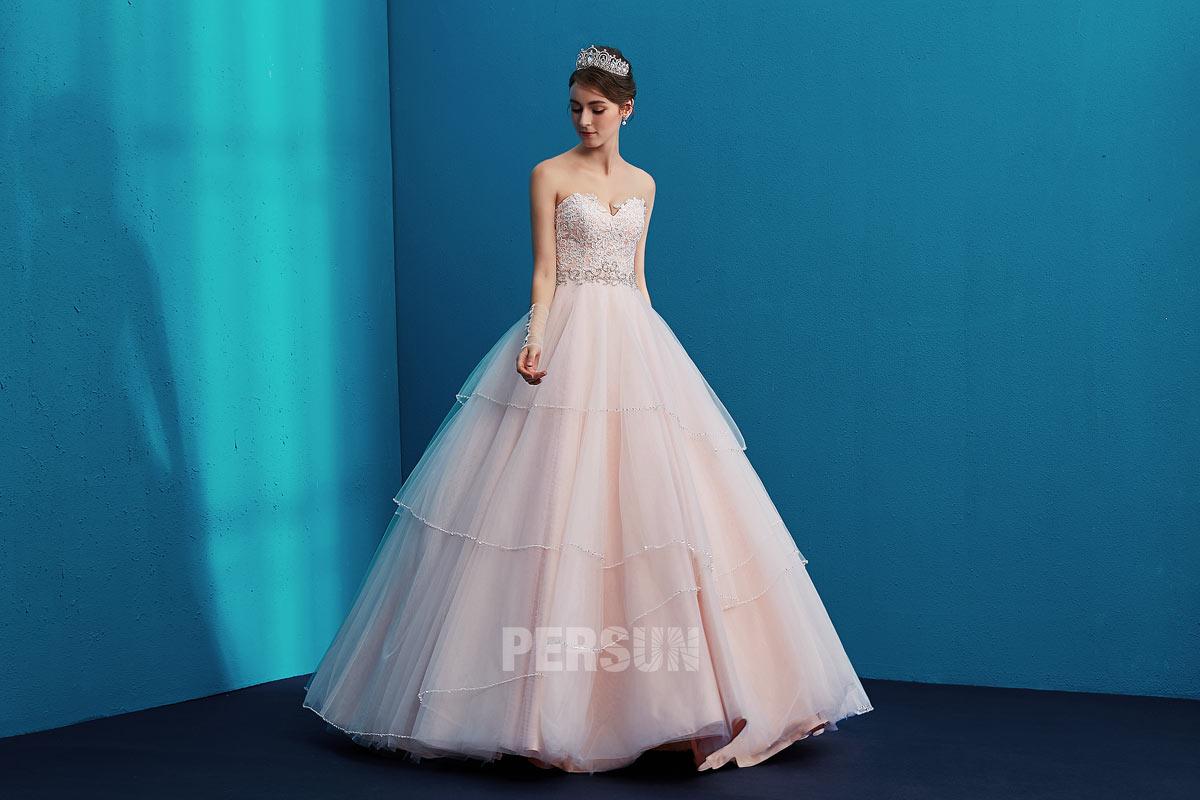 robe de mariée rose pale princesse bustier coeur appliqué 2019