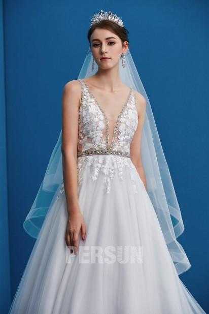 robe de mariée 2019 col en V appliqué de dentelle ceinturé en strass